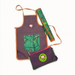 Brown Dots Waterproof Monkey Apron Set