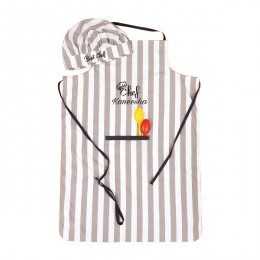 Grey Stripes Premium Apron Set
