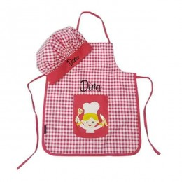 Pink Checks Chef Apron Set