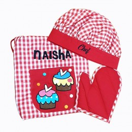 Red Checks Cupcake Apron Set