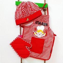 Red Checks Chef Apron Set