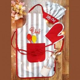 Stripes Red Pocket Premium Apron Set