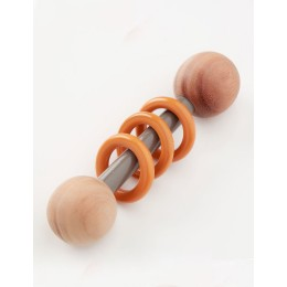 Wooden Rattle - Dumbbell with Grey & Orange Rings