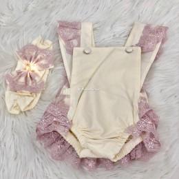 Dreamy Lush Romper & Headband - Cream & Pink