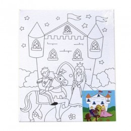 Castle and Horses on a  Canvas