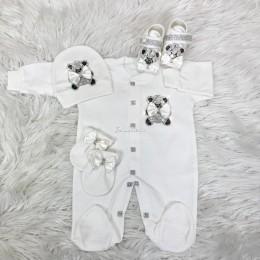 Royal Jewel Baby Girl 4 Piece Set - Teddy White