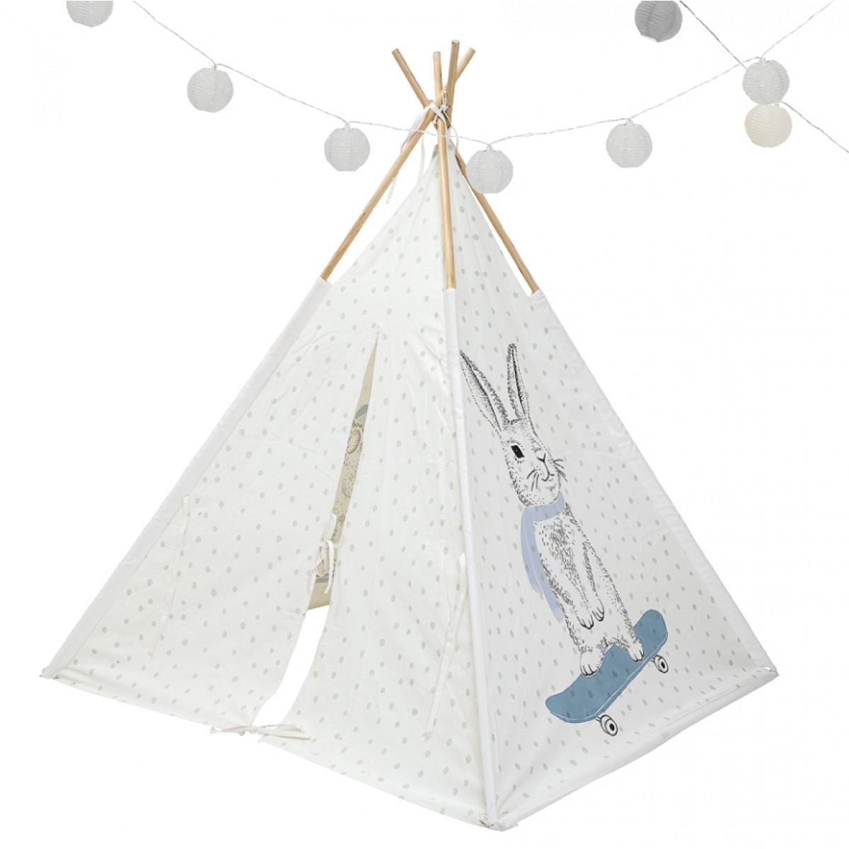 Rabbit Motif Powder Blue Dots  - Teepee Tent