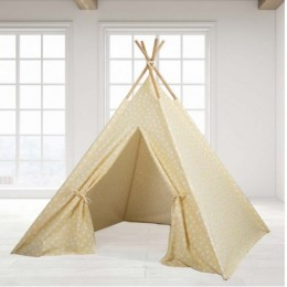 Teepee Tent -Yellow Base & White dot