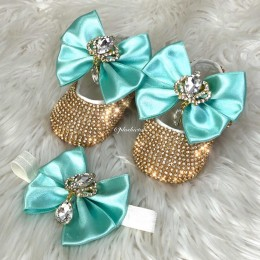 Cinderella Shoes & Headband - Turquoise Gold