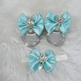 Cinderella Shoes & Headband - Turquoise White