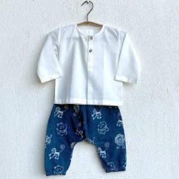 Unisex Organic White Kurta with Zoo Print Indigo Pants