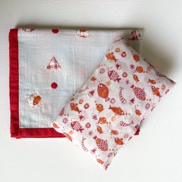 Kids Organic Gift Set - Dohar + Kapok Pillow - Koi