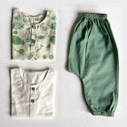 Unisex Organic Koi Bag - Koi Mint And White Kurta With Mint Pants