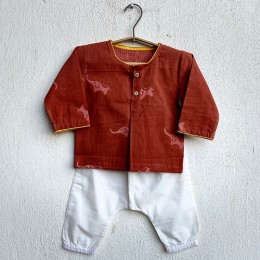 Unisex Organic Madder Kurta With White Pants