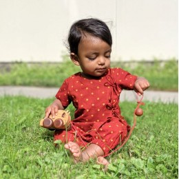 Unisex Organic Madder Raidana Print Angrakha Top + Pants