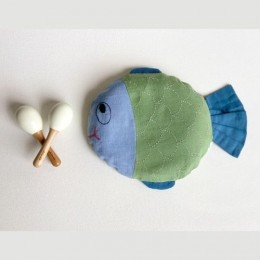 Newborn Gift Set - Organic Mustard Seed Fish Pillow and Maracas