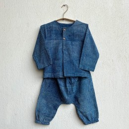 Unisex Organic Indigo Check Kurta With Matching Pants