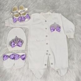 Royal Jewel Baby Girl 4 Piece Set - White Violet