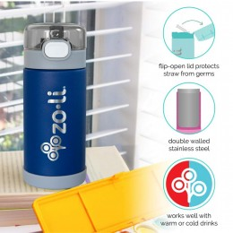 ZoLi POW SQUEAK Vacuum Insulated Straw Drink Bottle - Navy