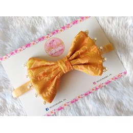 Banarasiya Bow Headband - Peach