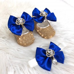 Cinderella Shoes & Headband - Navy Gold