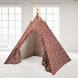 Teepee Tent - Brown Base & White Dot