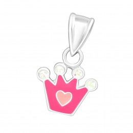 Pink Crown heart pendant