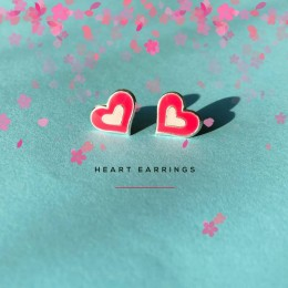 Heart Earrings (Hot Pink And Light Pink)