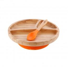 Avanchy Bamboo Toddler Plate & Spoon - Orange