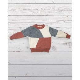 Colour block sweater orange and gray