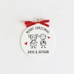 Christmas Doodle Ornament - 2 Person/Set