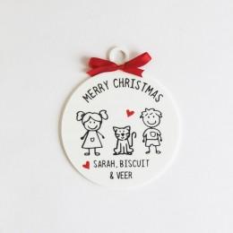 Christmas Doodle Ornament - 3 Person/Set