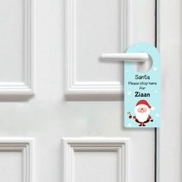 Santa Stop Here Door Hanger - Blue