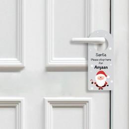 Santa Stop Here Door Hanger - Grey