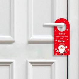 Santa Stop Here Door Hanger - Red