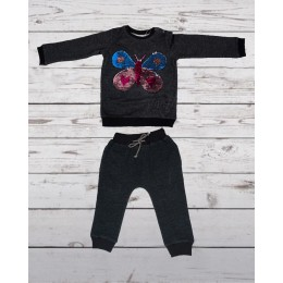 Track suit with butterfly patch