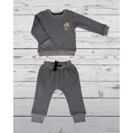 Track suit with snoopy patch