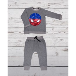 Track suit with spiderman patch