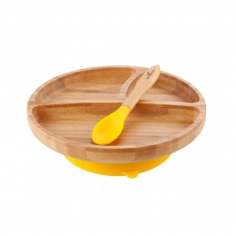 Avanchy Bamboo Toddler Plate & Spoon - Yellow