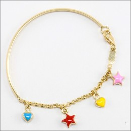 Stars Half Bangle - 9k Gold With Enamel