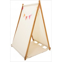 Cream Tent With Colorful Bunting And Matching Mat