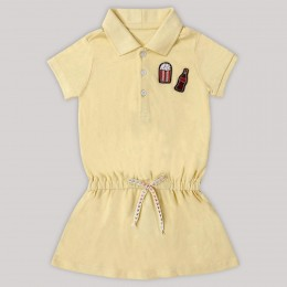 Small Popcorn & Cola Bottle Motif Polo Dress