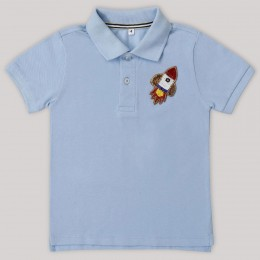Rocket Motif Polo T-Shirt (Blue)