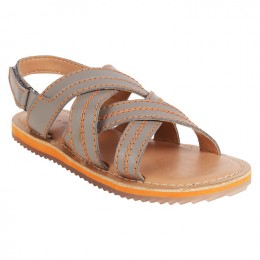 Gray Criss Cross Velcro Sandal