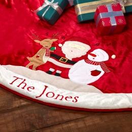 Winter Joys Tree Skirt Personalized - Santa Edition