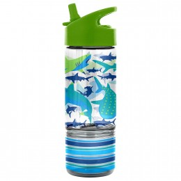 Flip Top Bottle with Snack Container - Shark