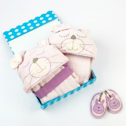 Spa Time New Born Gift Set (Bunny) - With Hooded Towel