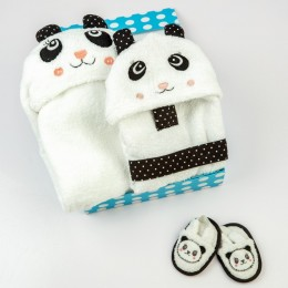 Spa Time New Born Gift Set (Panda) - With Hooded Towel