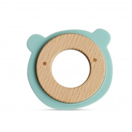Wood + Silicone Disc Teether- Bear