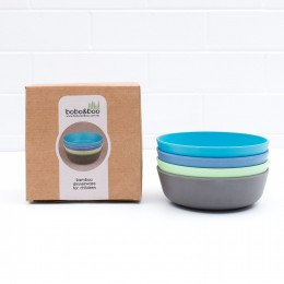 Set of 4 Bamboo Toddlers & Kids Bowls for Cereal & Soup - Coastal